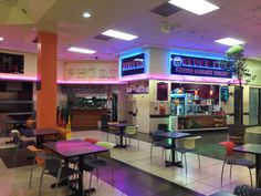 the food court in the older mall; the crew loves this mall. it has an old sanrio store, a book shop, lots of clothing stores they love. Abandoned Malls, Abandoned Places, Food Court, 1990 Style, Arcade, Sanrio Store, Dead Malls, Neon Aesthetic, Aquarius Aesthetic