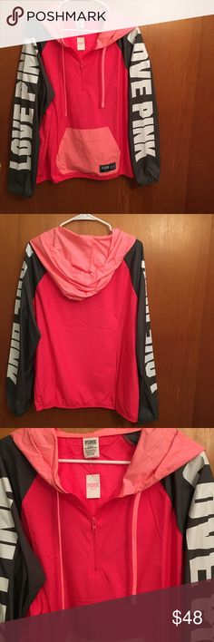 NWT Pink Victoria's Secret Anorak NWT Pink Victoria's Secret Windbreaker Jacket. This jacket is brand new and has never been worn. It is in PERFECT condition. The fit is true to size. The length is 28 inches. The armpit to armpit width is 24 inches. This Pink Victoria's Secret Windbreaker Jacket is SO pretty! You'd love it! Make an offer if you're interested. PINK Victoria's Secret Jackets & Coats