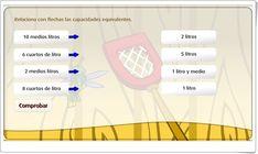 """""""El medio litro y el cuarto de litro"""" (Juego de Matemáticas de Primaria) Map, Maths Area, Math Games, Teaching Resources, Learning, Location Map, Maps"""