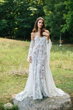 """Rue De Seine Bridal's """"Love Spell"""" Collection shot by Chaz Cruz is perfect for the boho bride. Modeled by Dominique Spindler."""
