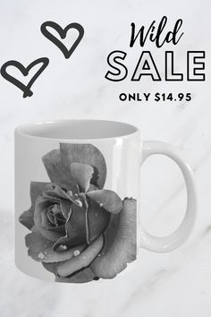 perfect for a gift or to keep for yourself, this unique coffee cup made of ceramic can hold 11oz   #beautifulmugs #rosecoffeemug #prettymugs Pretty Mugs, Coffee Cups, Ceramics, Canning, Rose, Tableware, Unique, Prints, Ceramica