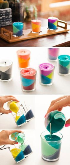 Color Block Crayon Candles. Using old crayons on hand to create this lovely and fun block candles for your home. You can ask your kids to help you. They will have great fun to stir crayons with wax.                                                                                                                                                                                 More