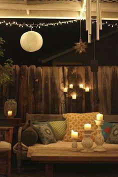 Inspirational mood lighting for a boho back yard...