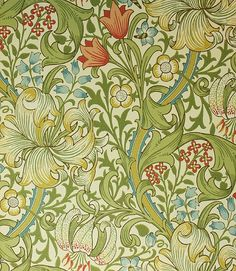 Golden Lily Wallpaper A classic William Morris wallpaper floral lilies in gold, cream, red and blue on a cream background