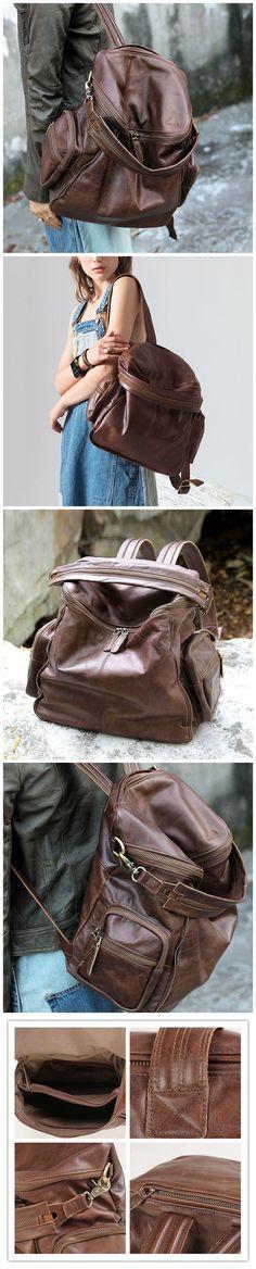 Handmade Backpack Full Grain Leather School Backpack Travel Backpack KP86120 Leather School Backpack, School Backpacks, Travel Backpack, Women's Bags, Leather Men, Women's Fashion, Brown, Handmade, Collection