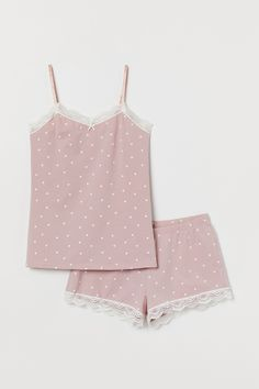 Pyjama strappy top and shorts - Dusky pink/White spotted - Ladies Cute Pajama Sets, Cute Pjs, Cute Pajamas, Pajama Outfits, Girl Outfits, Fashion Outfits, Pajama Shorts, Pajama Top, Cute Sleepwear