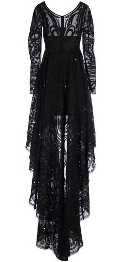 nice Black Lace Dress With Sheer Sleeves and Embroidery ♥... by http://www.polyvorebydana.us/gothic-fashion/black-lace-dress-with-sheer-sleeves-and-embroidery/