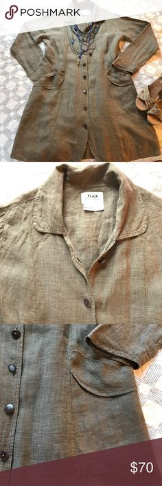"""FLAX olive linen jacket Wonderful FLAX long jacket with inner ties to make the waist more or less fitted. Buttons down the length, front pockets, extremely comfy and flattering. In excellent condition. Measurements lying flat: bust 21"""", waist 20"""", hips 25"""". FLAX Jackets & Coats"""