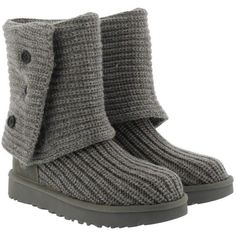 UGG W Classic Cardy Grey in grey, Boots & Booties ($160) ❤ liked on Polyvore featuring shoes, boots, ankle booties, ankle boots, grey, gray boots, ugg booties, ugg® bootie, short grey boots and grey bootie