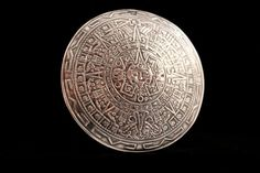 Aztec Silver Mayan Calendar Pendant Brooch - Mexico 925 by JaguarIsle, $65.00