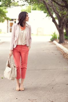 romantic take on coral cropped pants