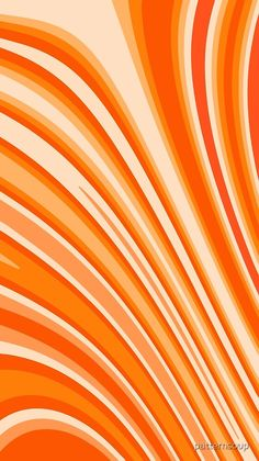 'Orange Sunshine Modern Abstract Curved Stripes' by patternsoup