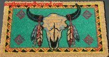 Door Mats - Southwest Western Designs Southwest Western Design Door Mats . $19.00. Door Mats Southwest Western Designs, what a great first impression you'll make when friends and guest come to your home. These Southwest Western designed door mats are made from the fiber of the coconut shell (coir fiber) and hand woven into doormats. Each mat then has it design hand stenciled into the mat using Fade Resistant non-toxic dyes. Each mat really is a work of art.Please note: It's bette...
