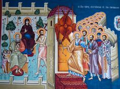 Jesus Christ depicted enthroned, together with all His Holy Saints ( source ) St. John of Kronstadt on the Saints As an ill-na. Divine Council, Luke The Evangelist, Feast Of Tabernacles, Saints, The Tabernacle, Heaven Sent, Adam And Eve, Creative Activities, Holy Spirit