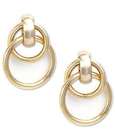 Jones New York Earrings, Gold Tone Twisted Hoop Earings - Fashion Earrings - Jewelry & Watches - Macy's