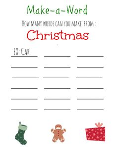 Christmas Make A Word {Free Printable}