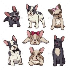 Funny puppies of french bulldog. Vector funny french bulldog, puppy cute, pet drawing sketch illustration Funny puppies of french bulldog. French Bulldog Cartoon, French Bulldog Drawing, French Bulldog Blue, French Bulldog Puppies, French Bulldogs, Frenchie Puppies, Cãezinhos Bulldog, Bulldog Breeds, Puppy Breeds
