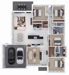 3D small home floor plans with 4 bedroom and garage #floorplan #homeplan