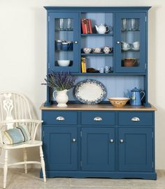 free-standing-kitchen-sideboard-kitchen-hutches-blue-lacquered-hutch-buffet-with. Kitchen Sideboard, Kitchen Larder, Kitchen Shelves, Kitchen Furniture, Kitchen Interior, New Kitchen, Vintage Kitchen, Kitchen Decor, Open Shelves