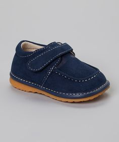 Look at this Izzy Bug Creations Navy Blue Strap Squeaker Loafer on #zulily today!