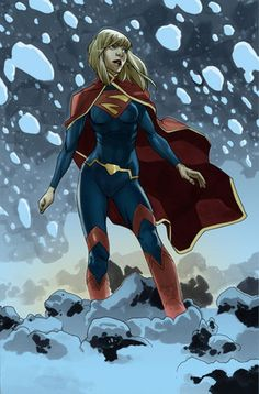 """My least favorite version of Supergirl's costume, with leggings added, isn't quite so bad... from """"Fully clothed female superheros finally look like they can fight crime in the winter."""""""