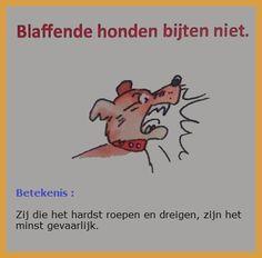 🐕 Blaffende honden bijten niet (= zij die een groot woord hebben, die dreigen, zijn gewoonlijk niet sterk in de daad, zijn niet te vrezen. 🐕  Ook de Romeinen zeiden : canis timidus vehementius latrat quam mordet (Otto, 70) 🐕 E: Barking dogs never bite. / Barking dogs seldom bite. / His bark is worse than his bite 🐕F: Chien qui aboie ne mord pas D: Bellende Hunde beißen nicht 🐕I: Cane che abbaia non morde 🐕P: Cão que ladre não morde. / Galinha cantadeira é pouco poedeira.