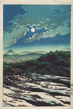 "Hasui KAWASE (1883-1957) - Shin Hanga. ""Karikachi Mountain Pass""  (""Karikachi Toge""). Circa 1927. 9-3/8"" x 14-1/4""."