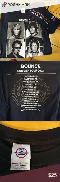 Bon Jovi Bounce Tour T-Shirt and Bandana World Tour 2003...both items are in excellent if ever even used condition. Shirts Tees - Short Sleeve