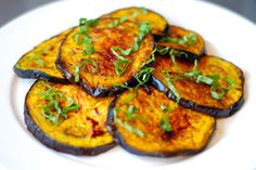 "From ""I broiled sliced eggplant brushed with virgin red palm oil and finished with balsamic vinegar and chopped basil…"" Trying this tonight! Primal Recipes, Thm Recipes, Simply Recipes, Cooking Recipes, Healthy Recipes, Paleo Vegetables, Veggies, Vegan 30 Day Challenge, Veggie Dishes"