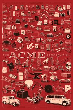A giant poster of every ACME product, ever. 126 drawings of explosives, gadgets, rockets, and more! My name is Rob, and I'd like your help to create a giant poster of every product from the ACME Corporation. I watched every Coyote & Road Runner episode, then hand drew all 126 wacky gadgets, explosives, and items that appeared in the cartoons. #design #art #ACME