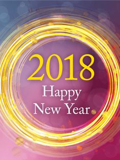 """Golden Circle Happy New Year Card 2018: If you know someone who appreciates beautiful art, this is a great New Year card to send! This Happy New Year card has varying shades of blue, purple, and pink with light circles. In the center, yellow lines and spots form a bright, eye-catching ring around the """"2018 Happy New Year"""" message. Send it today!"""