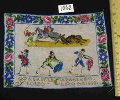 A 19th Century Spanish BeadWork Sampler Stitched By GABRIELLA CABELLERO LOIZO & Dated 1810