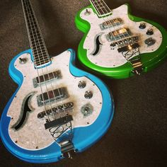 DiPinto Guitars Belvedere Deluxe Basses!! RESEARCH #DdO:) - https://www.pinterest.com/DianaDeeOsborne/basses-of-life/ - BASSes OF LIFE. Four string bass: 34 scale Mahogany body with 22 fret maple neck. Two chrome single cois pickups with Tune-o-matic bridge. In black body covered by a white sparkle pickguard and headstock. Available in Left Handed.