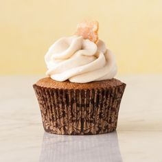 Triple ginger cupcakes, gluten free. When freshly grated, powdered and candied ginger meet, good flavor happens.