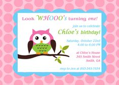 """Printable Owl theme birthday party invitation. $8.00, via Etsy. I would say """"Look WHOOOOS Here"""" for a shower invite"""