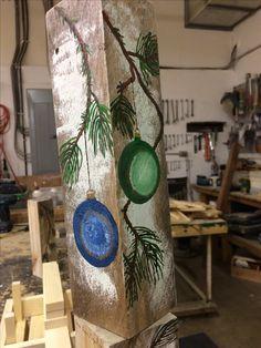 Christmas balls on barnboard blocks