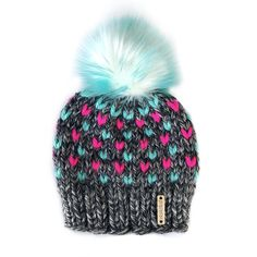 Tiny Hearts Faux Fur Pom-Pom Beanie in Ice Cream Dreams(wool free), Beanie, Nickichicki - Nickichicki Baby Hats Knitting, Loom Knitting, Knitted Hats, Knitting Patterns, Baby Girl Hats, Girl With Hat, Girls Hats, Knit Crochet, Crochet Hats