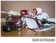 I want to do a pic like this if we have another little one! Baby Boy Hockey, Hockey Nursery, Newborn Pictures, Baby Pictures, Hockey Jewelry, Hershey Bears, Hockey Pictures, Hunting Baby, Newborn Baby Photography
