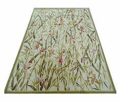 6'x9' Handmade Bamboo Bird Butterfly Wool Needlepoint Rug~New~Free Shipping