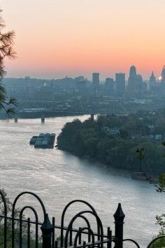 Get dramatic views of Cincinnati, Ohio from Mt. Echo Park,