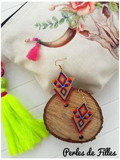 Boucles d'oreilles trianglegéométriques tissage perles