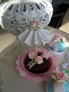 Birthday Decoration Three Parasol Cupcake Toppers for by JeanKnee