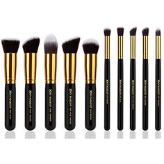 10pcs Professional Make up Brushes Set Foundation Blusher Kabuki Powder Eyeshadow Blending Eyebrow Brushes Black/gold >>> Check out the image by visiting the link. (This is an affiliate link and I receive a commission for the sales)