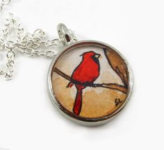 The Cardinal, original tiny art in a necklace. $30.00 and free shipping.