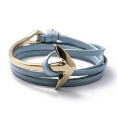Gold Anchor Half-cuff On Baby Blue Leather Bracelet