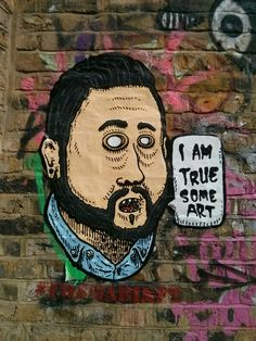 Another claim to true art. This one on the other side of the bridge to Omega. Paste up? Seen a third lurking around Queens Yard.