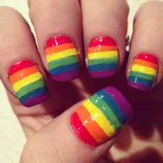 Nailed Daily, I would do white nail with rainbow stripes ^_^