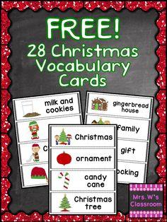 FREE!! 28 Christmas Vocabulary Cards!