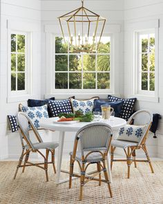 Beautiful banquettes have the power to instantly transform any breakfast area or nook into a multi-purpose space for reading, crafts or anything else! Bistro Chairs, Side Chairs, Side Tables, Dining Nook, Dining Chairs, Patio Dining, Lounge Chairs, Banquette Design, Kitchen Banquette Ideas
