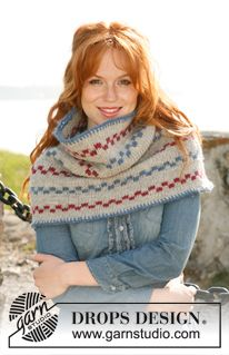 "Pippi shawl - Knitted DROPS neck warmer in ""Alaska"". - Free pattern by DROPS Design"